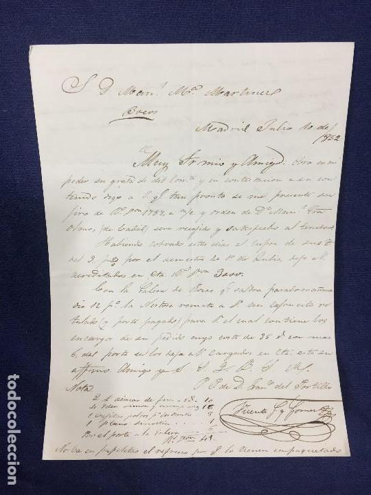 CARTA DE BURGOS VILLARCAYO A MADRID 1852 ISABEL II ROJO TRANSPORTE POR GALERA MERCANCIAS 22X16CMS (Sellos - España - Isabel II de 1.850 a 1.869 - Cartas)
