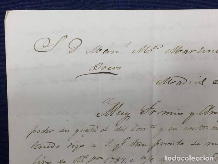 Sellos: carta de burgos villarcayo a madrid 1852 isabel II rojo transporte por galera mercancias 22x16cms - Foto 8 - 158223638