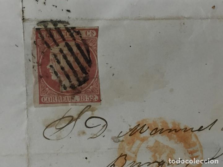 Sellos: carta de burgos villarcayo a madrid 1852 isabel II rojo transporte por galera mercancias 22x16cms - Foto 2 - 158223638