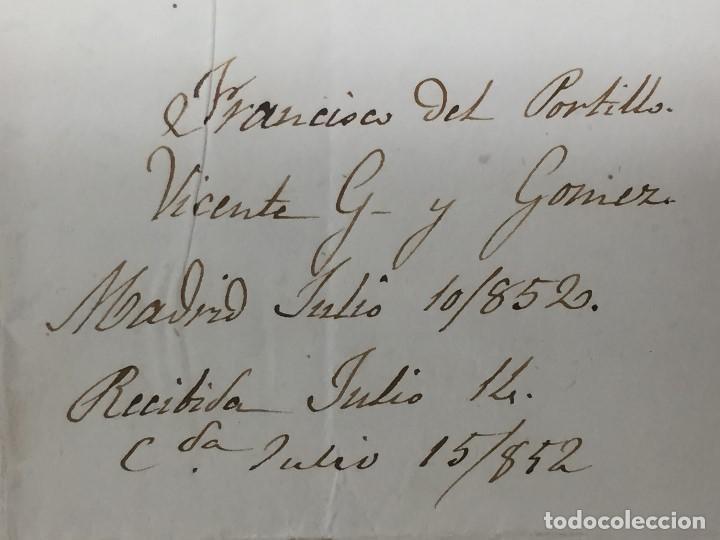 Sellos: carta de burgos villarcayo a madrid 1852 isabel II rojo transporte por galera mercancias 22x16cms - Foto 11 - 158223638