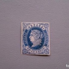 Sellos: ESPAÑA - 1862 - ISABEL II - EDIFIL 59 - MH* - NUEVO - VARIEDAD - CALCADO AL DORSO - VALOR CAT. 110€.. Lote 158484774