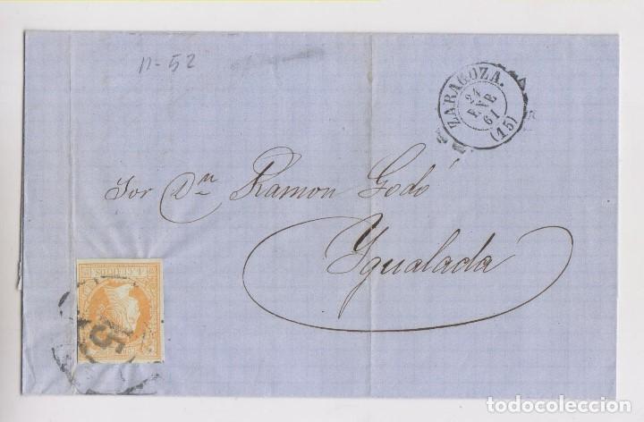 CARTA ENTERA. RUEDA DE CARRETA. ZARAGOZA A IGUALADA, BARCELONA. 1861 (Sellos - España - Isabel II de 1.850 a 1.869 - Cartas)