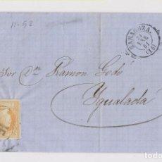 Sellos: CARTA ENTERA. RUEDA DE CARRETA. ZARAGOZA A IGUALADA, BARCELONA. 1861. Lote 159789310