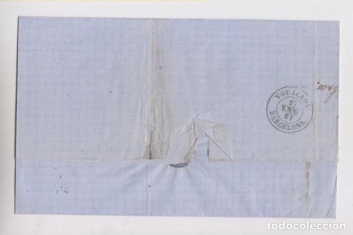 Sellos: CARTA ENTERA. RUEDA DE CARRETA. ZARAGOZA A IGUALADA, BARCELONA. 1861 - Foto 2 - 159789310