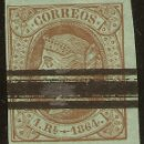 Sellos: ESPAÑA EDIFIL ESPECIALIZADO 67S (º) 1 REAL CASTAÑO VERDE BARRADO ISABEL II 1864. Lote 159791222