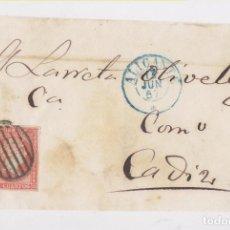 Sellos: FRONTAL DE ALICANTE A CÁDIZ. 1857. FECHADOR AZUL. Lote 159797458