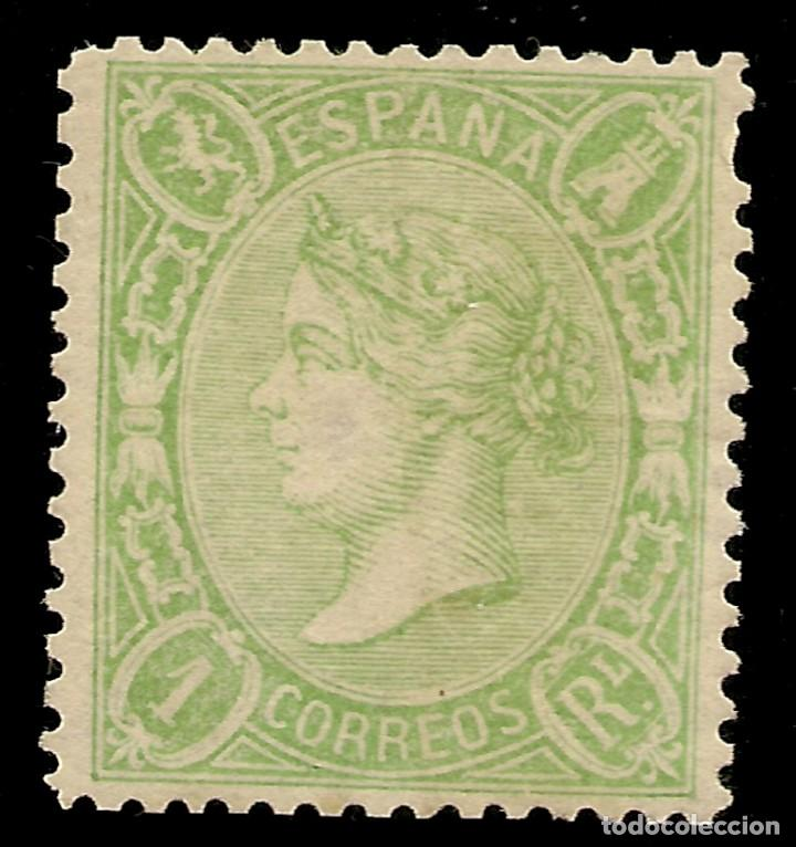 ESPAÑA EDIFIL 78 (*) 1 REAL VERDE ISABEL II 1865 NL820 (Sellos - España - Isabel II de 1.850 a 1.869 - Nuevos)