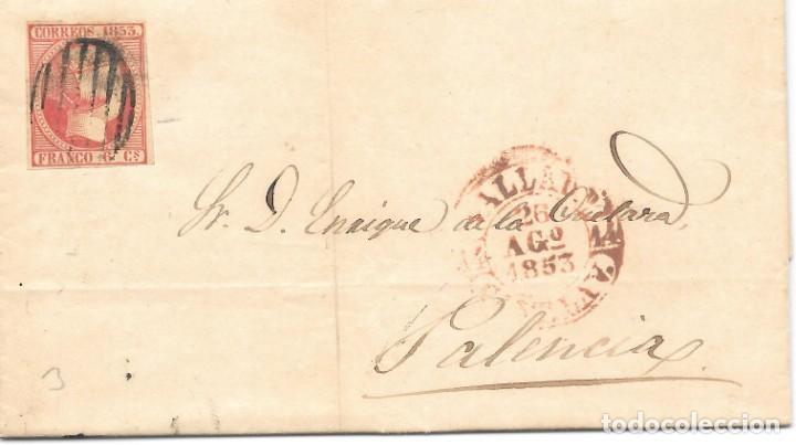EDIFIL Nº 17. ENVUELTA CIRCULADA DE VALLADOLID A PALENCIA. 1853 (Sellos - España - Isabel II de 1.850 a 1.869 - Cartas)