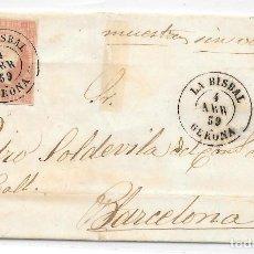 Sellos: EDIFIL Nº 48. ENVUELTA CIRCULADA DE LA BISBAL A BERCELONA. 1859. Lote 161700422