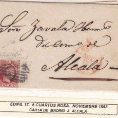 Sellos: F3-19- CARTA COMPLETA MADRID - ALCALÁ 1853. Lote 162389242