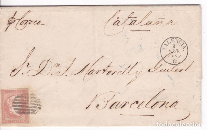 CM1-49- CARTA COMPLETA VALENCIA- BARCELONA 1858 (Sellos - España - Isabel II de 1.850 a 1.869 - Cartas)