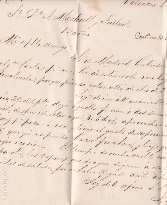 Sellos: CM1-49- Carta Completa VALENCIA- BARCELONA 1858 - Foto 2 - 162418626