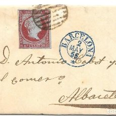 Sellos: CATALUÑA. EDIFIL 40. ENVUELTA DE BARCELONA A ALBACETE. 1855. Lote 163496194