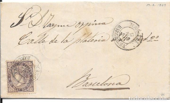 CATALUÑA. EDIFIL 98. ENVUELTA DE MANRESA A BARCELONA. 1869 (Sellos - España - Isabel II de 1.850 a 1.869 - Cartas)