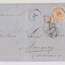 Sellos: CARTA ENTERA. DE HARO, RIOJA, A FRANCIA. 1869. AMBULANTE AL DORSO. Lote 164263206
