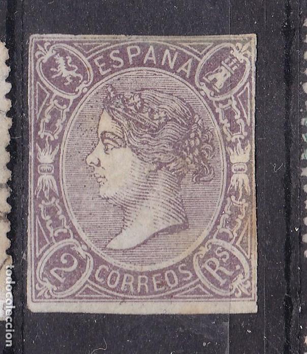 VV14-CLÁSICOS EDIFIL 73 NUEVO (*) RARO COLOR. MARQUILLA ROIG. VER DESCRIPCIÓN (Sellos - España - Isabel II de 1.850 a 1.869 - Nuevos)