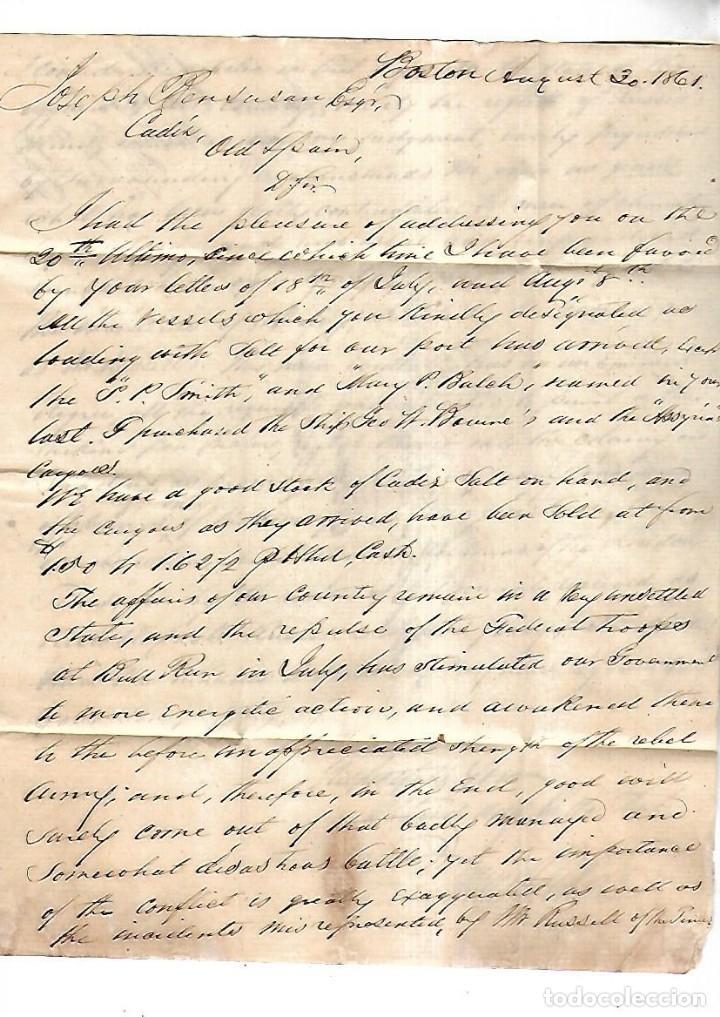 CARTA DE BOSTON A CADIZ. VER SELLOS (Sellos - España - Isabel II de 1.850 a 1.869 - Cartas)