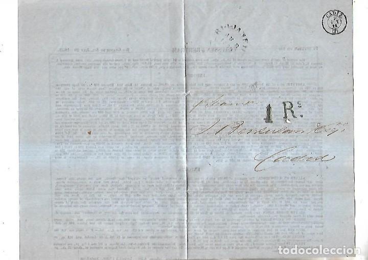 CARTA. RIO GRANDE DEL SUR. 1859. A CADIZ. POR STEAMER. VER (Sellos - España - Isabel II de 1.850 a 1.869 - Cartas)