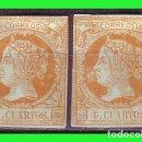 Sellos: ESPAÑA, 1860 ISABEL II EDIFIL Nº 52 (*) 2 EJEMPLARES, VARIEDAD. Lote 165261566