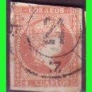 Sellos: ESPAÑA, 1858 ISABEL II EDIFIL Nº 48 (O) MAT. RUEDA DE CARRETA Nº 21, BURGOS. Lote 165339382