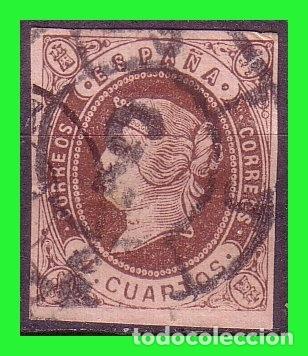 ESPAÑA, 1862 ISABEL II EDIFIL Nº 58 (O) MAT. RUEDA DE CARRETA Nº 3, CÁDIZ (Sellos - España - Isabel II de 1.850 a 1.869 - Usados)