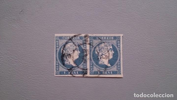 ESPAÑA - 1855 - ISABEL II - EDIFIL 49 - PAREJA - DOBLE MARQUILLA - LUJO - VALOR CATALOGO 140€. (Sellos - España - Isabel II de 1.850 a 1.869 - Usados)