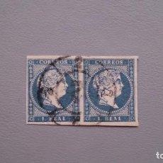 Sellos: ESPAÑA - 1855 - ISABEL II - EDIFIL 49 - PAREJA - DOBLE MARQUILLA - LUJO - VALOR CATALOGO 140€.. Lote 166651346