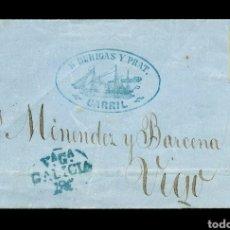 Sellos: CORREO MARÍTIMO GALICIA CARRIL MARCA PREFILATELIA EN AZUL 1859. Lote 166718597
