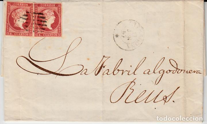 CARTA COMPLETA CON PAREJA DE SELLOS NUM.48 DE TARRAGONA A REUS -1857- MATASELLOS FECHADOR Y PARRILLA (Sellos - España - Isabel II de 1.850 a 1.869 - Cartas)