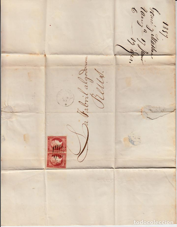 Sellos: CARTA COMPLETA CON PAREJA DE SELLOS NUM.48 DE TARRAGONA A REUS -1857- MATASELLOS FECHADOR Y PARRILLA - Foto 2 - 167046420