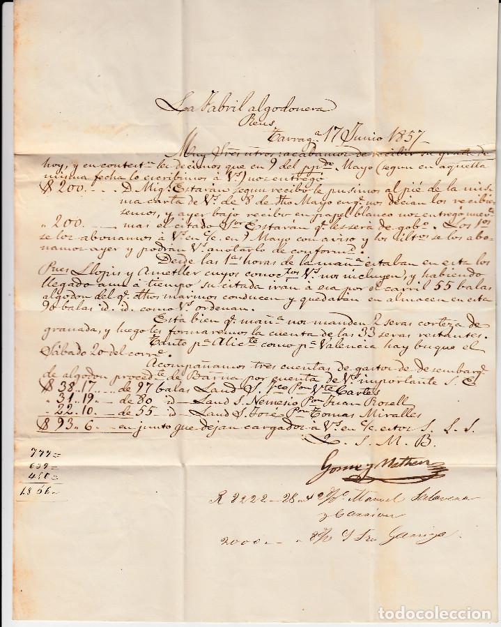 Sellos: CARTA COMPLETA CON PAREJA DE SELLOS NUM.48 DE TARRAGONA A REUS -1857- MATASELLOS FECHADOR Y PARRILLA - Foto 3 - 167046420