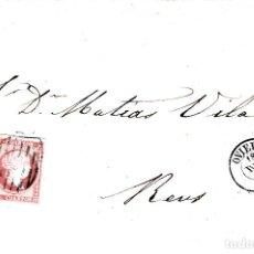 Sellos: CARTA COMPLETA CON NUM. 48 DE FERNANDO GUERRERO EN SAMA DE LANGREO -1857 PARRILLA AZUL -MAT. OVIEDO. Lote 167061728