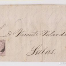 Sellos: CARTA ENTERA. DE OVIEDO A SALAS, ASTURIAS. 1869. Lote 167072176