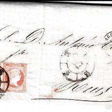 Sellos: CARTA COMPLETA CON PAREJA DE NUM. 48 DE ZARAGOZA 1859- ----CON FECHADOR Y RUEDA DE CARRETA . Lote 167600728