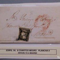 Sellos: ESPAÑA - 1850 - ISABEL II - ENVUELTA COMPLETA EDIFIL 1 A - ZARAGOZA MADRID 1850 - LUJO.. Lote 168113152