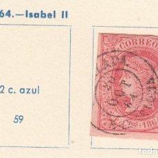 Sellos: ESPAÑA.SELLO DE 1864. USADO CON FIJASELLOS.. Lote 168113844