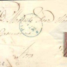 Sellos: AÑO 1855 EDIFIL 40 ENVUELTA ENVUELTA MATASELLOS REJILLA Y AZUL BARCELONA . Lote 168478792