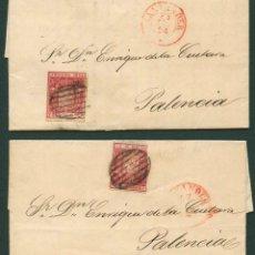 Sellos: 1854 ESPAÑA EDIFIL 24 CONJUNTO DE 2 CARTAS DE SANTANDER A PALENCIA. Lote 163031782