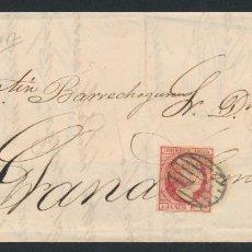 Sellos: 1853. CARTA DE MALAGA A GRANADA. EDIFIL: 17. ISABEL II. MATASELLO PARRILLA.. Lote 168924452