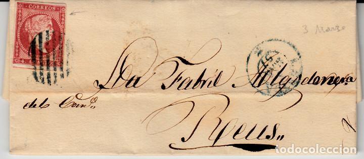 CARTA COMPLETA CON NUM 48 DE MERCADE CALAF EN LLEIDA DESTINO REUS 1857 PARRILLA Y FECHADOR AZULES (Sellos - España - Isabel II de 1.850 a 1.869 - Cartas)