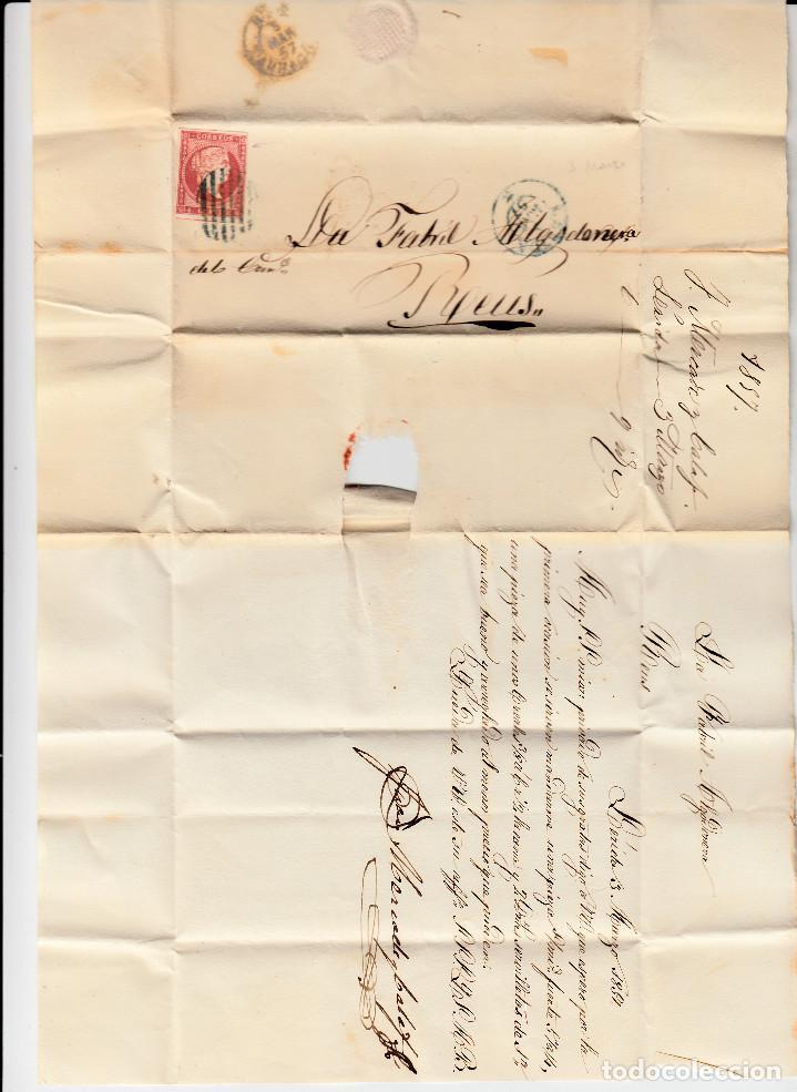 Sellos: CARTA COMPLETA CON NUM 48 DE MERCADE CALAF EN LLEIDA DESTINO REUS 1857 PARRILLA Y FECHADOR AZULES - Foto 2 - 169096216