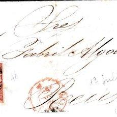 Sellos: CARTA COMPLETA CON NUM 48 DE ECHEVARRIA EN GRANADA -1856 FECHADOR ROJO Y PARRILLA. Lote 169109456