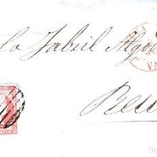 Sellos: CARTA COMPLETA CON NUM 48 DE XÀTIVA - JATIVA -1857 FECHADOR ROJO Y PARRILLA. Lote 169109872