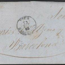 Sellos: 1855. ED 40 ISABEL II. CARTA. VICH-BARCELONA. 4 CUARTOS ROJO. FECHADOR TIPO I NEGRO DE VICH. Lote 169556104