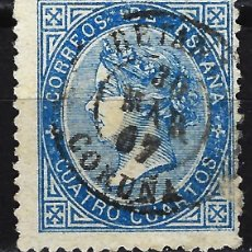 Sellos: 1867 ESPAÑA EDIFIL 88 - ISABEL II - 4 CUARTOS - USADO - FECHADOR CORUÑA. Lote 170100756