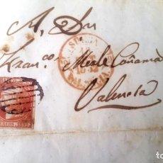 Sellos: CARTA VALENCIA - 1852 - EDIFIL 12. 6 CUARTOS ISABEL II. Lote 170378272