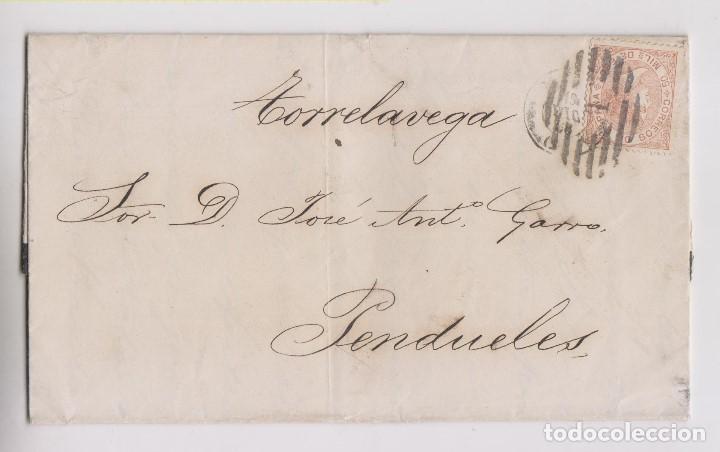 CARTA ENTERA. MADRID A PENDUELES, ASTURIAS. POR TORRELAVEGA. 1868. PARRILLA (Sellos - España - Isabel II de 1.850 a 1.869 - Cartas)