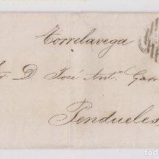 Sellos: CARTA ENTERA. MADRID A PENDUELES, ASTURIAS. POR TORRELAVEGA. 1868. PARRILLA. Lote 170458836