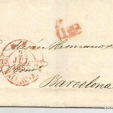 Sellos: ESPAÑA.EDIFIL Nº 17.AÑO 1853,CARTA CIRCULADADE VALENCIA A BARCELONA. Lote 170993034