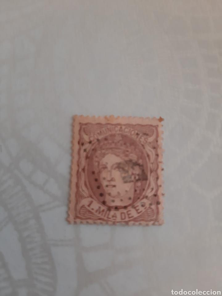 1870 ESPAÑA FIGURA ALEGÓRICA ISABEL II 1 MIL ESCUDO BONITO MATASELLO (Sellos - España - Isabel II de 1.850 a 1.869 - Usados)